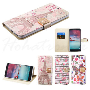 For ZTE Zmax Pro Kirk Grand X Max Duo 4G BLING Leather Flip Wallet Case Cover