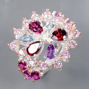 Women fashion Art Rhodolite Ring Silver 925 Sterling  Size 7 /R177634
