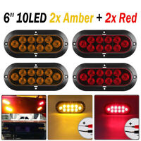 """4X 10LED 6"""" Red Amber Lens Oval Surface Mount Stop Tail Light Car Truck Trailer"""