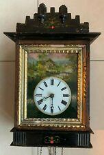 Très belle et ancienne horloge comtoise décors verre peint paysage à restaurer