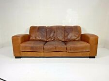 Art Deco Style Cigar Tanned Brown Leather Chesterfield 3 Seater French Club Sofa
