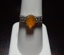 Size 7 AA Orange American Fire Opal & White Topaz Sterling Silver Ring 1.23cts