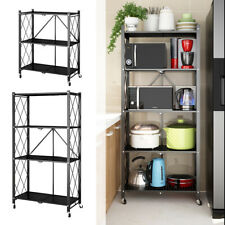 Wheeled Folding Storage Rack Shelving Shelf Kitchen Office Unit Stand Display