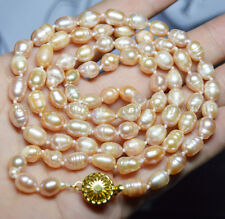 LONG 35 INCHES 8-9MM PINK AKOYA CULTURED RICE PEARL REAL PEARL NECKLACE