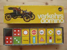 VERKEHRS-DOMINO (PERI) - altes Verkehrszeichen-Anlegespiel mit Plastiksteinen!