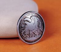 10X 30MM Western Replica Eagle Half Dallor Coin Leathercraft Conchos Rivet back