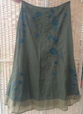 Monsoon Size 12 Dark Green Skirt Turquoise Brown Green Embroidered Lined Cotton