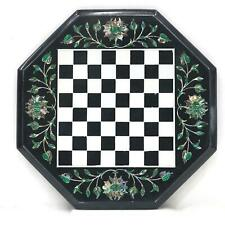 16'' black Marble Chess Table Top Pietra Dura Inlay Children Game Kids