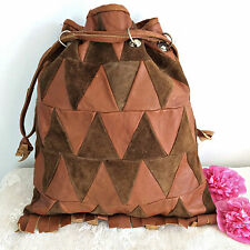 Vintage 60s Hand Made Tan Leather Suede Fringe Patchwork Bag Hippy Boho Festival