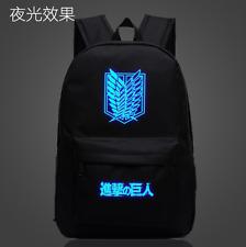 Black Attack on Titan Zipper Luminous Backpack Student Schoolbag Travel Rucksack