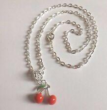 collier 46 cm avec pendentif cerises rouges 16x15 mm