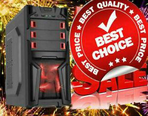 AMD Quad Core Custom Built Gaming PC Computer Desktop 16GB 2TB DVDRW Red LED
