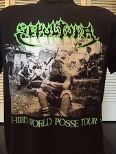 Rare Vtg Sepultura Posse Tour Shirt Sz L Rock Exodus Metal Slayer Morbid Angel