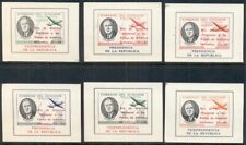 ECUADOR 1949 FDR MINIATURE SHEETS OVERPRINTED FOR FLOOD RELIEF, OG, NH, 6 DIFF.