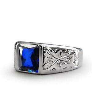 3.40CT Men's Blue Sapphire Personalized With Engraving Signet Ring