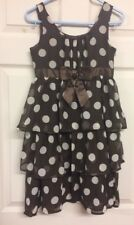 All Dressed Up Girls Brown White Spot Layered Floaty Dress Age 10-11 Years Zip