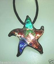 Lampwork Multi-Color Dichroic Glass Hawaiian Textured Starfish Pendant Adjust #1