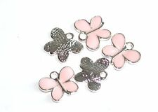 5 SILVER PLATED PINK ENAMEL BUTTERFLY JEWELLERY CRAFT CHARMS PENDANTS - 15x10mm