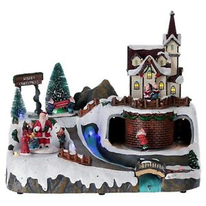 LED Musical Christmas Rotating Village Scene 27cm Decoration Santa