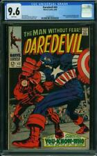 DAREDEVIL #43 CGC 9.6 Classic Kirby battle cover VS Captain America! WHITE PAGES