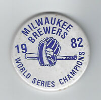 """1982 Milwaukee Brewers World Series Champions button 2 1/4"""" original pin Yount"""