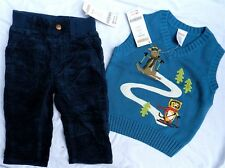 Navy Pant Set Gymboree Corduroy Vest Cotton Winter Boy 6-12 month New
