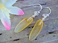 Long Yellow Sea Glass Silver Dangle Earrings Beach USA HANDMADE Artisan