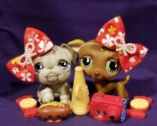 Authentic Littlest Pet Shop #507 508 Tear Greyhound Bulldog Brown Whippet Dog