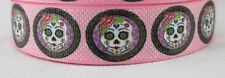Pink Sugar Skull grosgrain ribbon hair bows key chains lanyards crafts