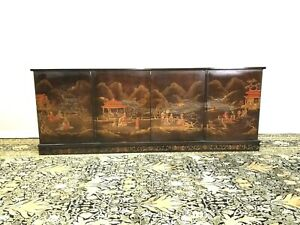 Chinoiserie Sideboard Credenza Vintage 4 Doors Lot's of Storage Sweet Landscape