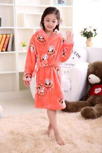 Soft Kids Hooded Toddler Plush Robe Flannel Pajamas Bathrobe Sleepwear Boy&girls