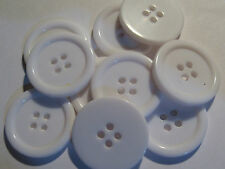 10 x Large WHITE 4-Hole Plastic Buttons 22mm Wide (SB7D)