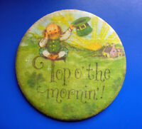Hallmark BUTTON PIN St Patrick Vintage LEPRECHAUN Top O Mornin IRISH Hoilday FBR