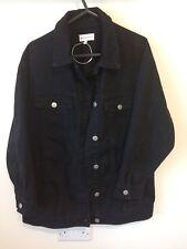 New Women's Warehouse Oversized Long Black Denim Jacket, UK Size 10 RRP £55