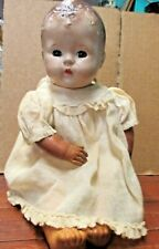 Antique Composition DOLL possible glass eyes cloth body rubber arms legs creepy