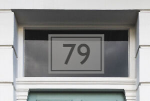House Number Etch Effect - Rectangle with Border - Fanlight Sticker - Door Sign