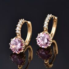 Anique Women Round Pink Sapphire Crystal 24K Gold Leverback Huggie Earrings