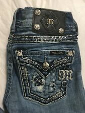 Miss Me Jeans Size 26x31 Straight Fit Slim Distressed Embellished Flap Pocket