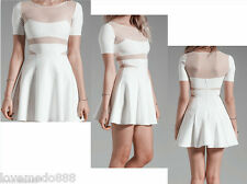 Womens Summer Casual Party Club See Through Back Flared Skater Dress WHITE XL