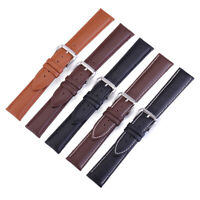 Leather Watch Strap Slim Genuine Leather Stainless Steel Buckle 12mm - 24mm