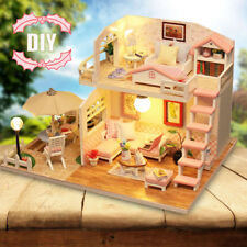 Dollhouse Miniature DIY Kit with Cover Wood Toy Doll House Cottage W/LED