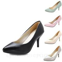 Ladies Pointed Toe Mid High Heels Womens Court Shoes Vintage Office Pumps Size