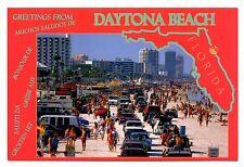 Daytona Beach Florida Postcard Greetings World's Most Famous Beach Sand Cars