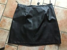 BNWT RIVER ISLAND FAUX LEATHER SKIRT - BLACK - ABOVE KNEE  - LINED - SIZE UK 18
