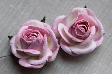 10 Mulberry Paper ROSES 45mm PINK / WHITE 519 Many OTHER COLOURS AVAILABLE