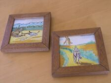 2 Framed Hand Painted Antique Spanish Tiles Ceramica Santa Ana Don Quixote