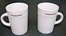Starbucks Holiday Mugs Lot of 2, 1 Pair White Cups Red Writing Lacy Trim 10 oz