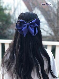 "6"" INK BLUE Hair Bows Jojo Style Large - Girls Teens Kids School Dance Party"