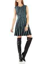 $338 BCBG BCBGMAXAZRIA Kaylin Striped Mini Ponte Dress Black Aqua Size M