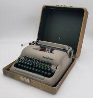 VTG Ca 1940 Smith Corona Clipper Manual Tan Suitcase Green Keys Typewriter Case